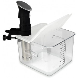 EVERIE Collapsible Hinged Sous Vide Container Lid Compatible with Anova Culinary Precision Cooker and 12,18,22 Quart Rubbermaid Container (Corner Mount)