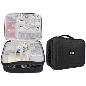 BUBM 12'' Large Double Layer Waterproof Handbag Travel Office Gear Organizer Electronics Accessories Gadget Big Bag for USB Cable, SD Card, Hard Drive, Digital Camera, iPad (XL,Black)