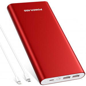 POWERADD Pilot 4GS Plus 20000mAh Portable Charger, 8-Pin and Micro Input 3.6A Power Bank for iPhone, iPad, Samsung, LG and More - Red (8-Pin and Micro Cable Included)