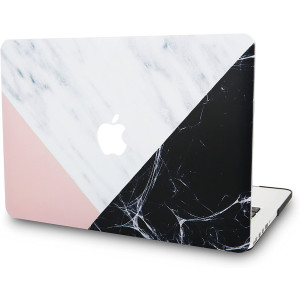 "KECC Laptop Case for MacBook Air 13"" Plastic Case Hard Shell Cover A1466 / A1369 (White Marble with Pink Black)"