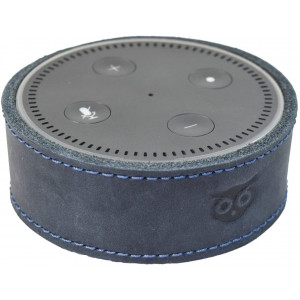 Alexa Case, Echo Dot 2nd Gen Case, Handmade Leather Protective Cover, Attractive Rustic Decor by Hide and Drink (Slate Blue)