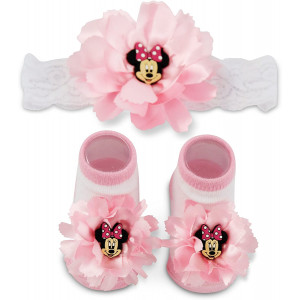 Disney Baby Minnie Mouse Polka Dot Flower Headwrap and Booties Gift Set