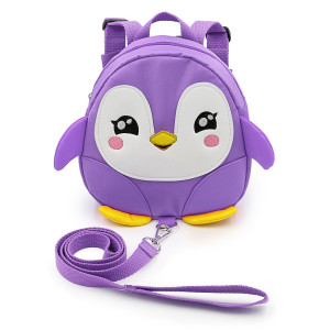 Hipiwe Baby Toddler Walking Safety Backpack Little Kid Boys Girls Anti-Lost Travel Bag Harness Reins Cute Cartoon Penguin Mini Backpacks with Safety Leash for Baby 1-3 Years Old (Purple)
