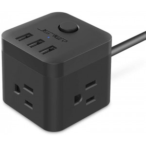 Power strip with usb JSVER USB Power Strip, Travel power strip 3 Outlet 3 USB Charging Ports, 4.92 Ft Extension Cord Power Cube for Travel, Office, Cruise Ship, Cellphone, Tablet, Laptop (Black)