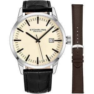 Stuhrling Original Mens Minimalist Swiss Quartz Stainless Steel Dress Wrist-Watch, Quick-Set Date, 2 Easy-Interchangeable Leather Straps  555AZ Series