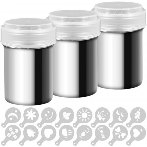 3 Pack Stainless Steel Powder Shaker, Coffee Cocoa Dredges with Fine-Mesh Lid, AIFUDA Power Can For Baking Cooking Home Restaurant with 16 Pcs Printing Molds Stencils