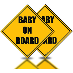 Zento Deals 2 Pack of Baby on Board Reflective Magnetic Signs