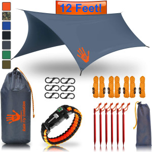 Rain Fly EVOLUTION 12x10/10x10 Hammock Waterproof Tent TARP and Survival Bracelet - 22 pcs - Lightweight - Backpacking Approved - Perfect Hammock Shelter - Multiple Colors