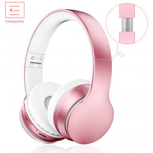 LOBKIN Bluetooth Headphones Over Ear, Stereo Wireless Headset with Microphone, Foldable Wireless and Wired Headphones with TF Card MP3 Mode and FM Radio for iPhone/Samsung/iPad/PC(Rose Gold)