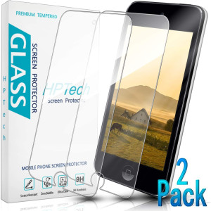 HPTech iPod Touch 5 6 7th Screen Protector - for Apple New iPod Touch 7th Gen 2019 Released / 6th, 5th Gen 2015 Tempered Glass, Bubble Free, Easy to Install, 2-Pack