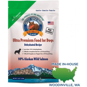 Grizzly Super Foods All-Natural Dehydrated Dog Food | Only 7 Ingredients, 80 Percent Alaskan Wild Salmon | Grain Free, Nutritionally Dense | Made in USA