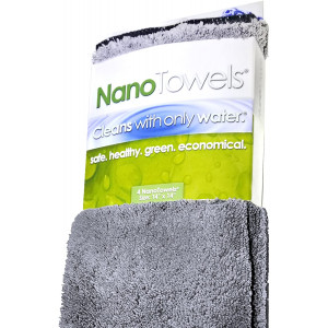 Life Miracle Nano Towels - Amazing Eco Fabric That Cleans Virtually Any Surface with Only Water. No More Paper Towels Or Toxic Chemicals. (14x14, Grey)