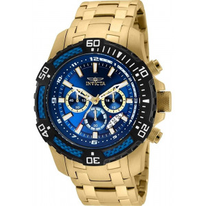 Invicta Men's Pro Diver Quartz Watch with Stainless Steel Strap, Gold, 26 (Model: 24856)