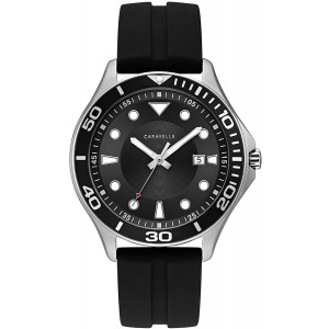 Caravelle Designed by Bulova Men's Stainless Steel Quartz Watch with Silicone Strap, Black, 22 (Model: 43B154)