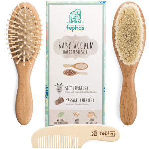 Wooden Baby Hair Brush and Comb Set for Newborns and Toddlers Girl/Boy   Natural Soft Goat Bristles Hairbrush Ideal for Cradle Cap   Wood Bristles Baby Brush   Perfect Baby Shower and Registry Gift
