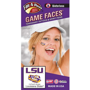 LSU Tigers  Waterless Peel and Stick Temporary Spirit Tattoos  4-Piece  2 Purple/Gold LSU Logo and 2 Purple/Gold Tiger Eye Logo