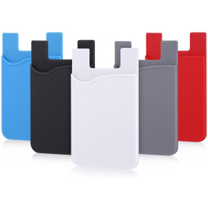 Phone Card Holder, Pofesun 5 Pack Ultra-Slim Credit Card Holder Adhesive Pocket Compatible for iPhone Samsung iPad LG Sony More Android Smart Phones(Black, White, Gray, Blue, Red)