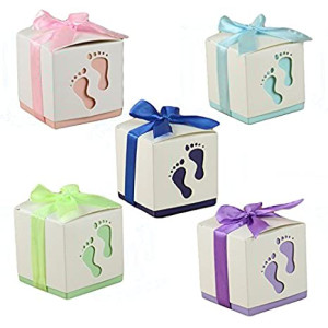 Floratek 50 PCS Baby Shower Favors Cute Baby Footprint Design Chocolate Packaging Box Candy Box Gift Box for Kids Birthday Baby Shower Guests Wedding Party Supplies