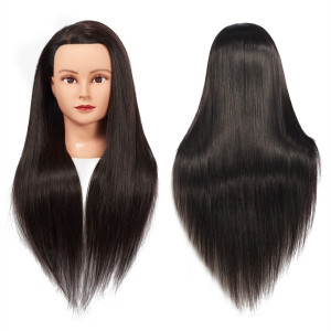 "Training Head 26""-28"" Female Mannequin Head Hair Styling Manikin Cosmetology Doll Head Long Hair Synthetic Fiber Hair Hairdressing Training Model Free Clamp (1711LB0220)"