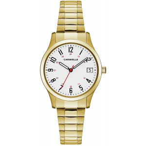 Caravelle Designed by Bulova Women's Quartz Watch with Stainless-Steel Strap, Gold, 15 (Model: 44M113)