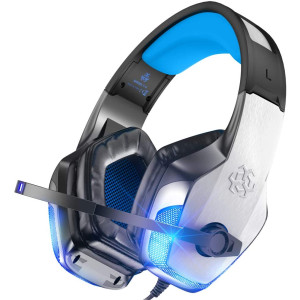 BENGOO V-4 Gaming Headset for Xbox One Ps4 Pc, Noise Cancelling Over Ear Headphones with Mic LED Light Soft Memory Earmuffs for PS2 Nintendo 64