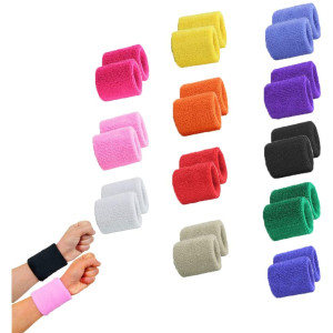 STONCEL 6/12/24Pairs Colorful Sports Wristbands Cotton Sweatband Wristbands Wrist Sweatbands Wrist Sweat Bands for Tennis,Sport, Basketball,Gymnastics,Golf,Running