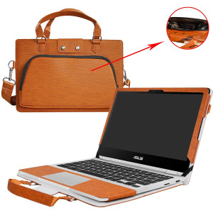 """Asus C302CA Case,2 in 1 Accurately Designed Protective PU Leather Cover + Portable Carrying Bag for 12.5"""" Asus Chromebook Flip C302CA C302CA-DHM4 C302CA-DH54 Laptop,Brown"""