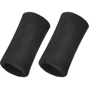 WILLBOND 6 Inch Wrist Sweatband Sport Wristbands Elastic Athletic Cotton Wrist Bands for Sports 2 Pieces