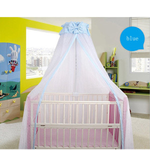 CdyBox Breathable Crib Netting Bed Curtains Canopy for Kids Mosquito Net Bedroom Decor (Blue, Mosquito net)