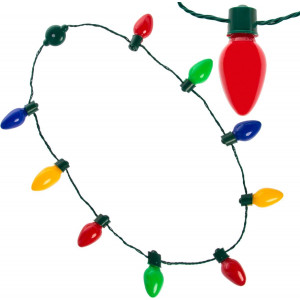 Simply Genius LED Light Up Christmas Necklace with Light Bulbs for Kids and Adults, Party Favors, String Lights, Christmas Decorations, Batteries Included