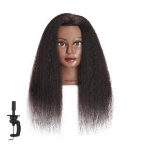 Traininghead 100% Real Hair Mannequin Head Training Head Cosmetology Manikin Practice Head Doll Head With Free Clamp Female (16 inches)
