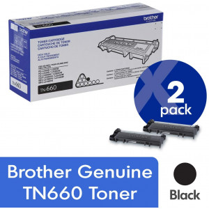 Brother Genuine TN660 2-Pack High Yield Black Toner Cartridge with approximately 2,600 page yield/cartridge