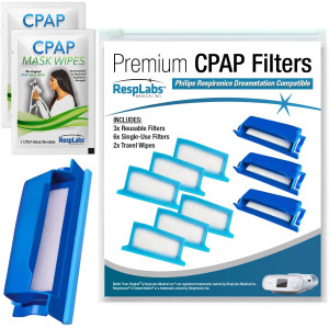 RespLabs CPAP Filters Compatible with Philips Respironics Dreamstation - 3 Reusable Large Particle and 6 Disposable Ultra-Fine Filters