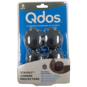 Qdos StayPut Corner Guards and Protectors - Multi-Component Construction -Guaranteed to Stay in Place unlike inferior products - Bite Proof and Choke Safe - Food Grade  Material | 8 pack | Gray