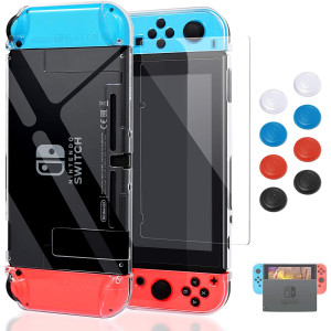 Case for Nintendo Switch,Fit The Dock Station, Protective Accessories Cover Case for Nintendo Switch and Joy-Con Controller - Dockable with a Tempered Glass Screen Protector,Crystal Clear