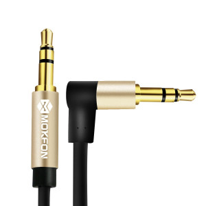 Aux Cable Male to Male Right Angle 3ft Headphone Extension Cord 3.5mm Stereo Audio Adapter Jack 3-pole Gold Plated Jack for Car/Home Stereo, Speaker, Phone and More (Black)