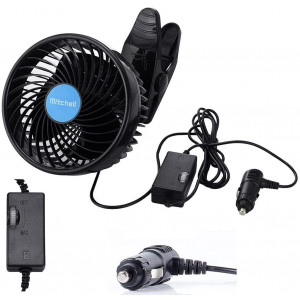 Alagoo 12V 6''Car Cooling Fan Automobile Vehicle Clip Fan Powerful Quiet Ventilation Electric Car Fans with Adjustable Clip and Cigarette Lighter Plug for Car/Vehicle