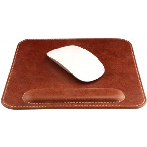 Londo Genuine Leather Mouse pad with Wrist Rest, Brown