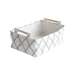 """LUFOFOX Decorative Collapsible Rectangular Fabric Storage Bin Organizer Basket with Wooden Handles for Clothes and Toy Storage, 116.73.5"""", White"""