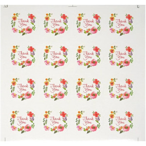 Honbay 20 Sheets 320pcs Thank You Floral Watercolor Round Sticker Labels Self-Adhesive Seal Sticker Decorative Sticker for Wedding, Scrapbooking, Cookies Packaging, Gift Wrap, Envelopes Seal, etc