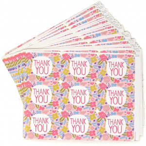 Honbay 20 Sheets 180pcs Thank You Floral Sticker Labels Self-Adhesive Seal Sticker Decorative Sticker for Wedding, Scrapbooking, Thank You Notes, Card Making, Packaging, Gift Wrap, Envelopes Seal, et