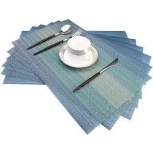 Bright Dream Placemats Washable Easy to Clean PVC Placemat for Kitchen Table Heat-resistand Woven Vinyl Hard Table Mats 12x18 inches Set of 6 Blue