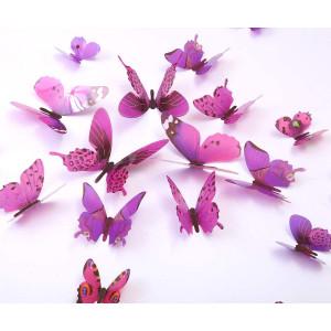 Kakuu 36PCS Butterfly Wall Decals - 3D Butterflies Wall Stickers Removable Mural Decor Wall Stickers Decals Wall Decor Home Decor Kids Room Bedroom Decor Living Room Decor-Purple