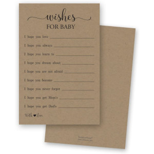 48 Rustic Kraft Wishes for Baby Cards  Well Wishes for Boy or Girl  Baby Wishes Cards