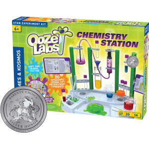 Thames and Kosmos Ooze Labs Chemistry Station Science Experiment Kit, 20 Non-Hazardous Experiments Including Safe Slime, Chromatography, Acids, Bases and More