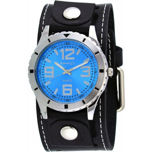 Nemesis #STH096L Men's Amazing Collection Black Wide Leather Cuff Band Blue Dial Watch