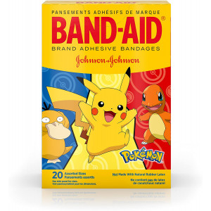 Band-Aid Brand Adhesive Bandages for Minor Cuts and Scrapes, Wound Care Featuring Pokmon Characters for Kids, Assorted Sizes 20 ct