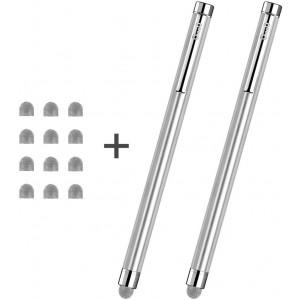 ChaoQ Stylus Pens, Hybrid Mesh Fiber Tip Stylus Touch Screen Pen for All Capacitive Touch Screens, Cell Phones, iPad, Samsung, Tablets, Kindle, with 12 Replaceable Mesh Fiber Tip (2 Pcs/Silver)