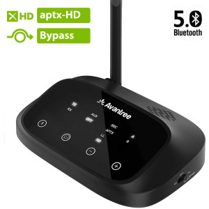 Avantree Certified aptX HD Bluetooth 5.0 Transmitter Receiver for TV, Low Latency Wireless Audio Adapter for Headphone, Long Range, Voice Guide, Touch Screen, Splitter for Wire and Wireless - Oasis Plus