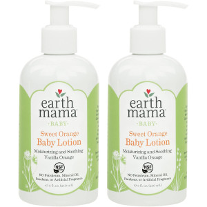 Earth Mama Sweet Orange Baby Lotion with Organic Calendula, 8-Fluid Ounce, 2-Pack